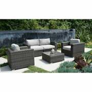 Lsi 5 Piece Rattan Sectional Seating Group With Cushions Grey 5-piece Sets