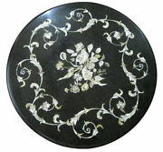 Black Marble Coffee Round Table Top Marquetry Inlaid Art Outdoor Home Deco H1903