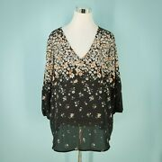 Collective Concepts Stitch Fix Plus Size 1x Top Tunic Floral V Neck 3/4 Sleeve