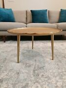 New Coffee Table Gold Round Boho Contemporary Modern Aluminum Antique Legs Metal