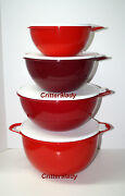 New Tupperware Classic Thatsa Nesting Bowls Tower In Shades Christmas Red