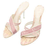 Christian Dior Trotter High Heels Mules Sandals Pink Auth Im141