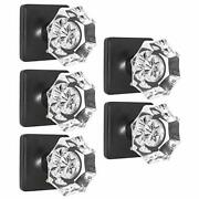 Probrico Octagon Crystal Door Knobs With Lock Heavy Duty Clear Glass Privacy ...