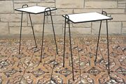 Pair Of Mid Century Modern Iron And Formica Stacking Tv Tray Tables