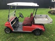 Red Club Car Ds Utility Golf Cart 2 Passenger Seat With Canopy 36v