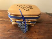 Wvu Longaberger 2011 Signed Basket, Protector, Lid, Tie On, Mountaineers
