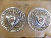 Pair 1965 1966 1967 Ford Galaxie Fairlane Wire Spoke Spinner Hubcaps Wheel Cover