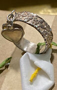 Antique Art Nouveau Floral Sterling Silver Cha Cha Dangling Hearts Ring Band 7.5