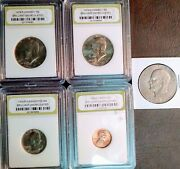 1979 1978 Slabbed Coin Lot - 4 Slabs And 1 2x2 - 1 - 0.50 2 - 0.25 - 0.01