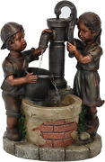 Sunnydaze Outdoor Water Fountain Jack And Jill At Farmhouse Pump And Well, Garde