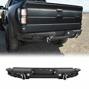 Steel Black Rear Bumper For 09-14 Ford F150 F-150 W/ D-rings And Led Work Lights
