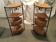 Longaberger Wrought Iron Corner Stands Set Of 2 W/baskets And Woodcraft Shelves