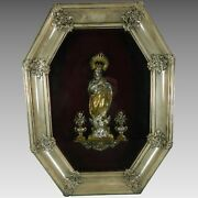 An Old Framed Chiselled Vermeil Silver Virgin Mary Immaculate Image Spain