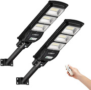 2 Pack 90 W Led Solar Street Lights Outdoor180 Led High Lumes W/light Control And
