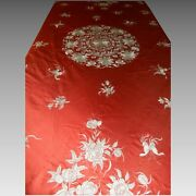 An Antique Chinese Silk Embroidery Flowers And Butterflies Motifs China