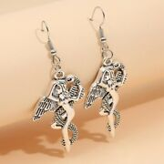 Angel And Snake Earrings 40x26mm Antique Silver Snake Angel Eve Charms Jewelry
