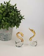 Vintage Hand Blown Clear Art Glass And Brass Swan Sculptures Figurines Set Of 2
