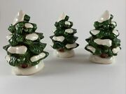 Lot Of 3 Lefton Ceramic Christmas Trees 4 06466 Colonial Village Accessories