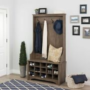 Wide Hall Tree And Bench W/ Shoe Storage,space-saving Design,15 Shoe Cubbies,gray