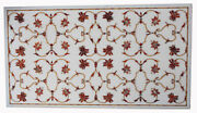 48x24 White Marble Dining Top Table Marquetry Floral Inlay Art Home Deco W249b