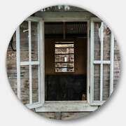 Designart 'wooden Walls And Windows' Landscape Round Wall Extra Large