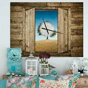 Designart 'window Open To Solitary Tree' Oversized Farmhouse Brown 40 In. Wide X