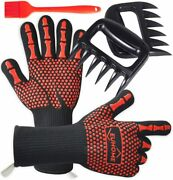 3 In 1 Bbq Gloves Grill Accessories With En407 Certified Oven Mitts