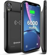 Upgraded Iphone Xr Battery Case Qi Wireless Charging Compatible 6000mah Slim Ext