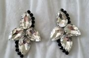 Clear And Black Drag Queen/costume Jewellery Clip On Ear Rings