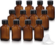 1 Oz / 30 Ml Amber Glass Rectangle Apothecary Empty Bottle With Airtight Cap 12