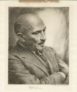 Chaim Weizmann Israel - Etching Signed Co-signed By Harry S. Moskovitz