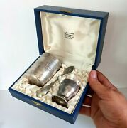 Vintage Set Of 3 Pieces Silver Plated Cup Egg Bowl And Sugar Spoon -original Box