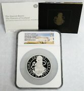 2017 Silver Great Britain 5 Oz Queens Beast Unicorn 750 Minted Proof Ngc Pf 70