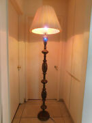 Vintage Brass And Enamel Floor Lamp From India, W/ 2 Shades, Undated, Adjustable