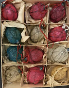 Lot 12 Vintage Antique Glass Wire Wrapped Feather Tree Christmas Ornaments