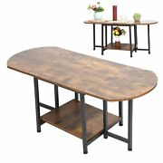 Sofa Table Brown Tea Table Save Space Folding Two‑layer End Table Industrial