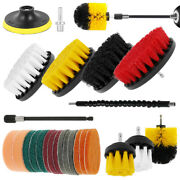 24pc Home Drill Brush Attachment Power Scrubber Car Cleaning Kit Scrub Combo Tub