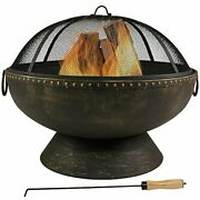 Sunnydaze Outdoor Fire Pit Bowl - 30 Inch Large Round Wood Burning Patio And Backy