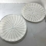 Set Of 2 Vintage White Plastic Basket Weave Trays Paper Plate Holders 12 Round