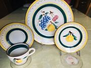Stangl Fruit 2 Place Settings Mid Century Peach Dinner Plate Cup Saucer Bread