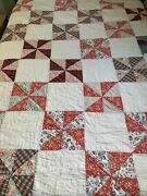 Vintage Cutter Quilt Pin Wheel 79x88 Hand Quilted Great Old Fabric Thin