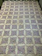 Vintage Cutter Quilt 9 Patch 66x79 Purple Hand Quilted