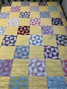 Vintage Cutter Quilt Pinwheel 69x82 Yellow Hand Quilted Great Old Fabric