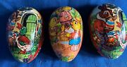 3 Vintage Western West Germany Paper Mache Candy Container Easter Eggs Chicks +