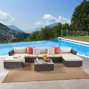 Santa Rosa Outdoor 5 Seater Wicker Sectional Sofa Set By Grey + Silver Cushion 5