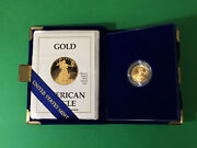 Gold Proof 1989 P Eagle 5 One Tenth 1/10 Ounce Oz Of Gold W/ Coa