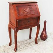 Antique Style Drop Front Secretary Desk Solid Wood Hand Carved Writing Table