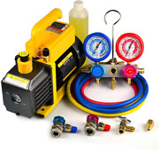 Favorcool 3.6cfm 1/4hp Air Vacuum Pump With Manifold Gauge Set For Freon R410a,