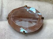 Antique Huge Faceted Oval Saphiret Stone Pin Brooch 25.5mmx19mm