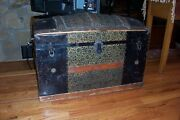 Vintage Embossed Tin And Wood Dome Top Steamer Trunk With Tray Insert And Wheels